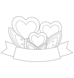 Heart plants with leafs and ribbon with place for vector