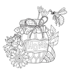 Honey pot doodle and bees vector
