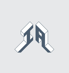 Ia - logo or 2-letter code isometric 3d font vector