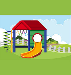 Isolated outdoor slide at playground vector