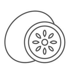 kiwi thin line icon fruit and vitamin tropical vector image