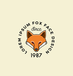 line style fox face with retro typography vector image