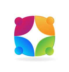 logo teamwork social people icon vector image