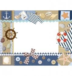 Marine photo frame vector