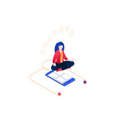 meditation at work - modern colorful isometric vector image