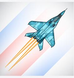 Modern russian jet fighter aircraft draw vector