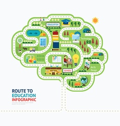 nfographic education human brain shape template vector image vector image