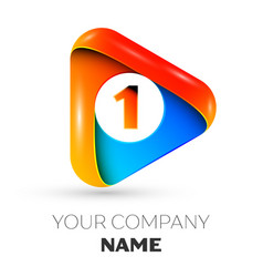Number one symbol in the colorful triangle vector