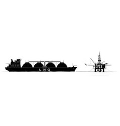 Oil or gas platform in ocean and a tanker for vector