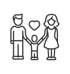 One child family - modern line design vector
