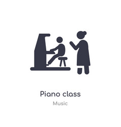 Piano class outline icon isolated line from music vector