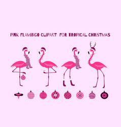 pink christmas flamingo set tropical birds design vector image