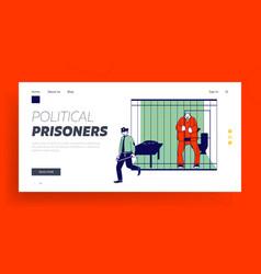 prisoner in prison jail website landing page vector image