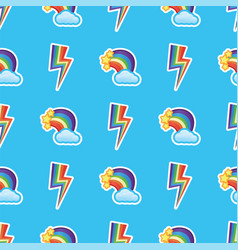 rainbows white clouds and stars with multicolors vector image