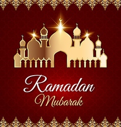 Ramadan Mubarak Greeting Card with mosque vector image