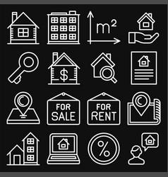 real estate icons set on black background line vector image