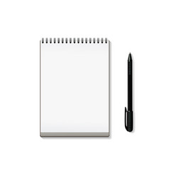 realistic notebook and pen isolated on white vector image
