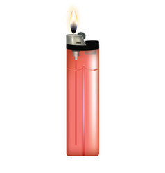 red plastic lighter with fire vector image
