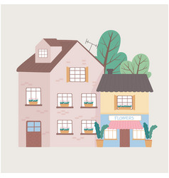 residential house and commercial building facade vector image