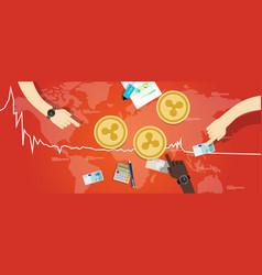 ripple coin decrease exchange value digital vector image