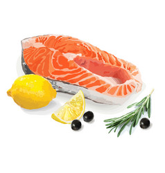 salmon lemon olives and rosemary vector image