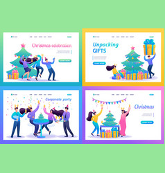 set 2d concepts teenagers have fun on christmas vector image