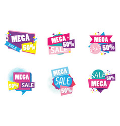 set big sale shopping poster vector image