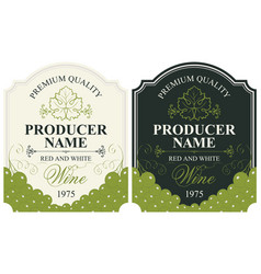 set of wine labels with bunches of grapes vector image
