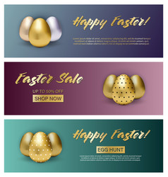 set three easter banners on gradient vector image