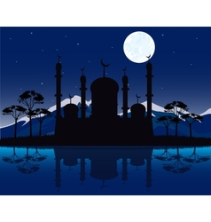 Silhouette to mosques in the night vector