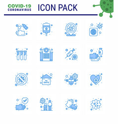Simple set covid-19 protection blue 25 icon vector