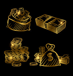 sketch money golden coins and money vector image