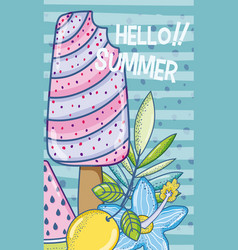 Summer popsicle cartoon vector