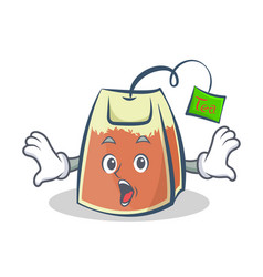 Surprised tea bag character cartoon vector