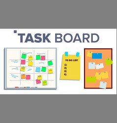 Task board set sticker notes scrum tasks vector
