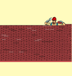 The builder lays brick masonry at the top vector