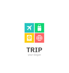 trip icons flat style logo design with airplane vector image