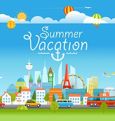 Vacation travelling concept with logo Summer vector