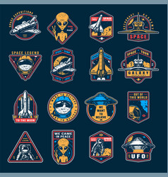 vintage space colorful emblems set vector image