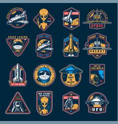 Vintage space colorful emblems set vector