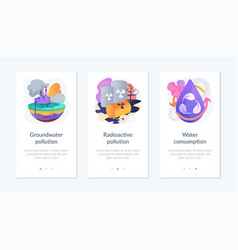 Water pollution app interface template vector
