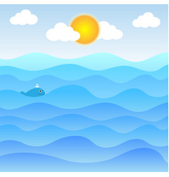 Water waves and sun with clouds and cute little fi vector