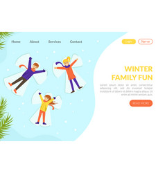 winter family fun landing page template winter vector image