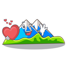 With heart mountain scenery isolated from the vector