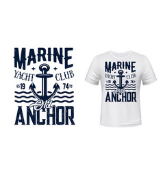 Yachting club t-shirt print with anchor vector