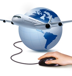 Background with airplane and hand with mouse vector image vector image