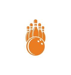 Bowling logo mockup bowling ball and pins sport vector image vector image