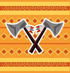 Cross axes weapon tool native american vector