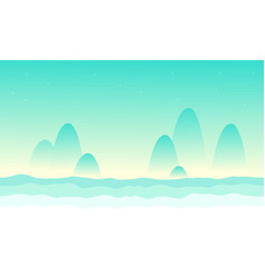 Desert mountain landscape game background vector