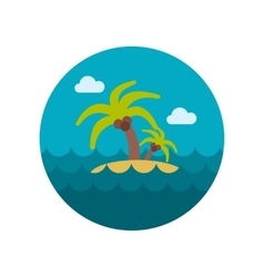 Island with palm trees flat icon vector image vector image